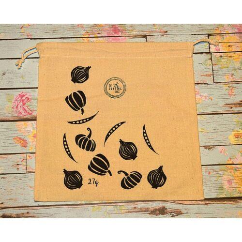 Zöldség mintás vászonzsák, 30*30 cm