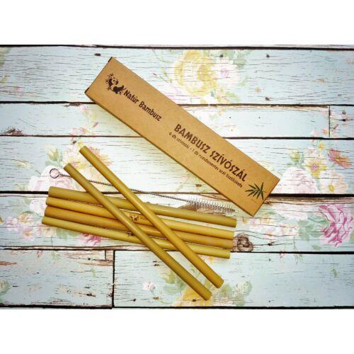 Bambusz Szívószál tisztítókefével - 6 db / csomag Natúr bambusz